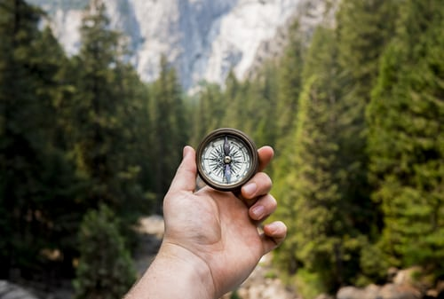 Compass in the woods